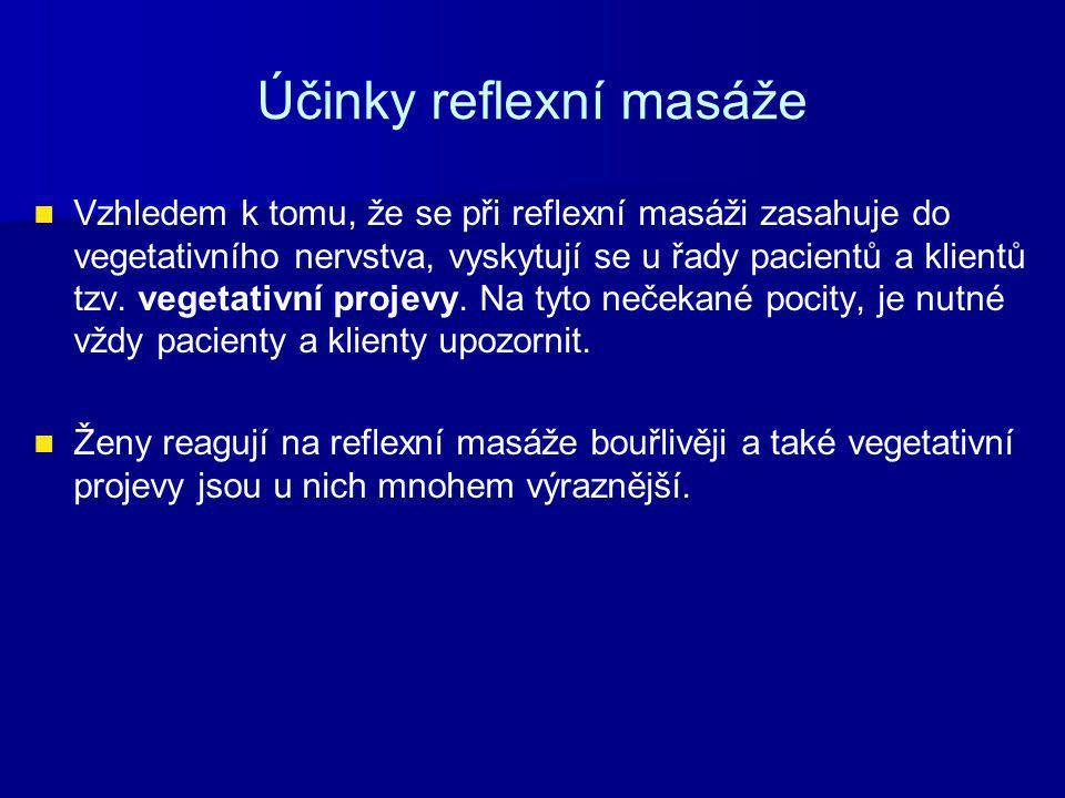 Účinky reflexní masáže Vzhledem k tomu, že se při reflexní masáži zasahuje do vegetativního nervstva, vyskytují se u řady pacientů a klientů tzv. vege
