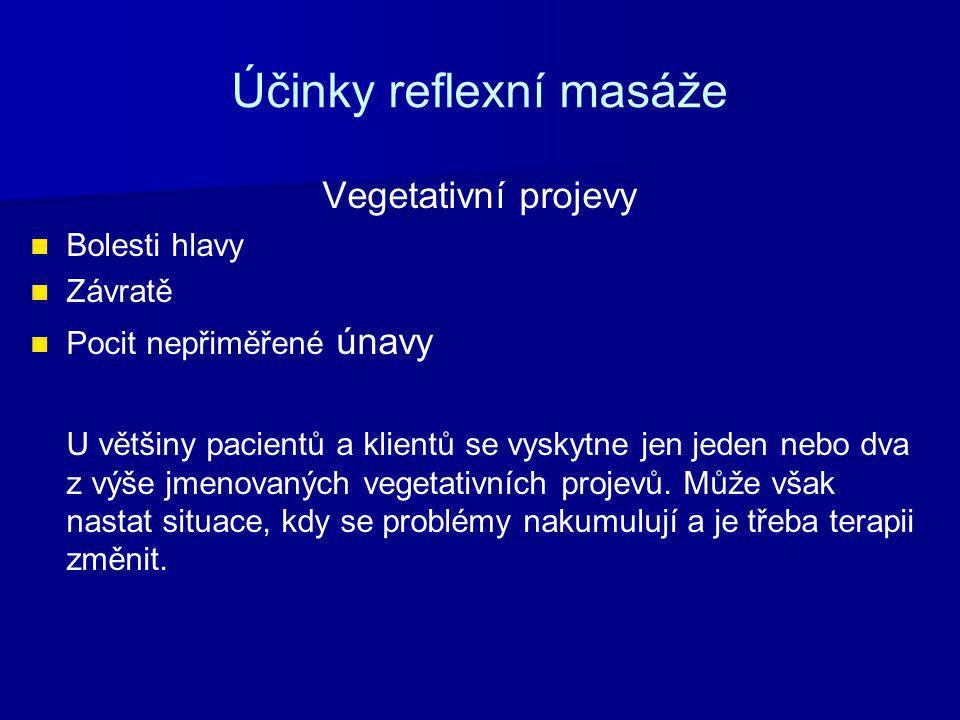 Účinky reflexní masáže Vegetativní projevy Bolesti hlavy Závratě Pocit nepřiměřené únavy U většiny pacientů a klientů se vyskytne jen jeden nebo dva z výše jmenovaných vegetativních projevů.