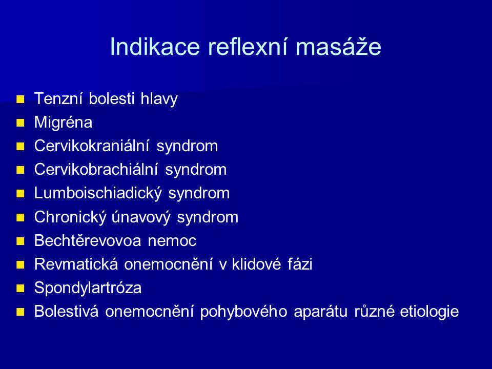 Indikace reflexní masáže Tenzní bolesti hlavy Migréna Cervikokraniální syndrom Cervikobrachiální syndrom Lumboischiadický syndrom Chronický únavový syndrom Bechtěrevovoa nemoc Revmatická onemocnění v klidové fázi Spondylartróza Bolestivá onemocnění pohybového aparátu různé etiologie