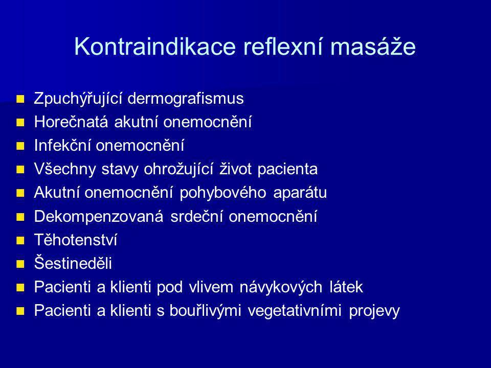 Kontraindikace reflexní masáže Zpuchýřující dermografismus Horečnatá akutní onemocnění Infekční onemocnění Všechny stavy ohrožující život pacienta Aku