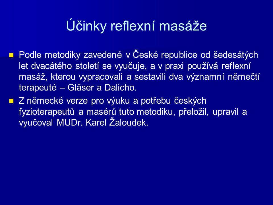 Účinky reflexní masáže Podle metodiky zavedené v České republice od šedesátých let dvacátého století se vyučuje, a v praxi používá reflexní masáž, kterou vypracovali a sestavili dva významní němečtí terapeuté – Gläser a Dalicho.