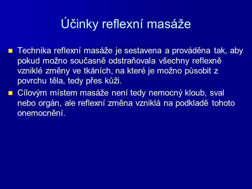 Opakování Vyjmenuj čtyři indikace vhodné pro aplikaci reflexní masáž.