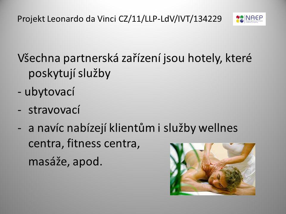 Projekt Leonardo da Vinci CZ/11/LLP-LdV/IVT/134229 Všechna partnerská zařízení jsou hotely, které poskytují služby - ubytovací -stravovací -a navíc na