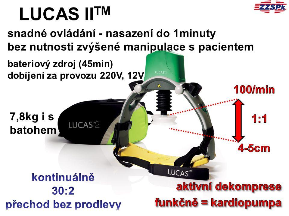 LUCAS II TM 7,8kg i s batohem snadné ovládání - nasazení do 1minuty bez nutnosti zvýšené manipulace s pacientem bateriový zdroj (45min) dobíjení za pr