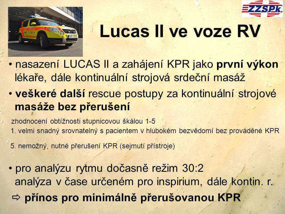 nasazení LUCAS II a zahájení KPR jako první výkon lékaře, dále kontinuální strojová srdeční masáž veškeré další rescue postupy za kontinuální strojové
