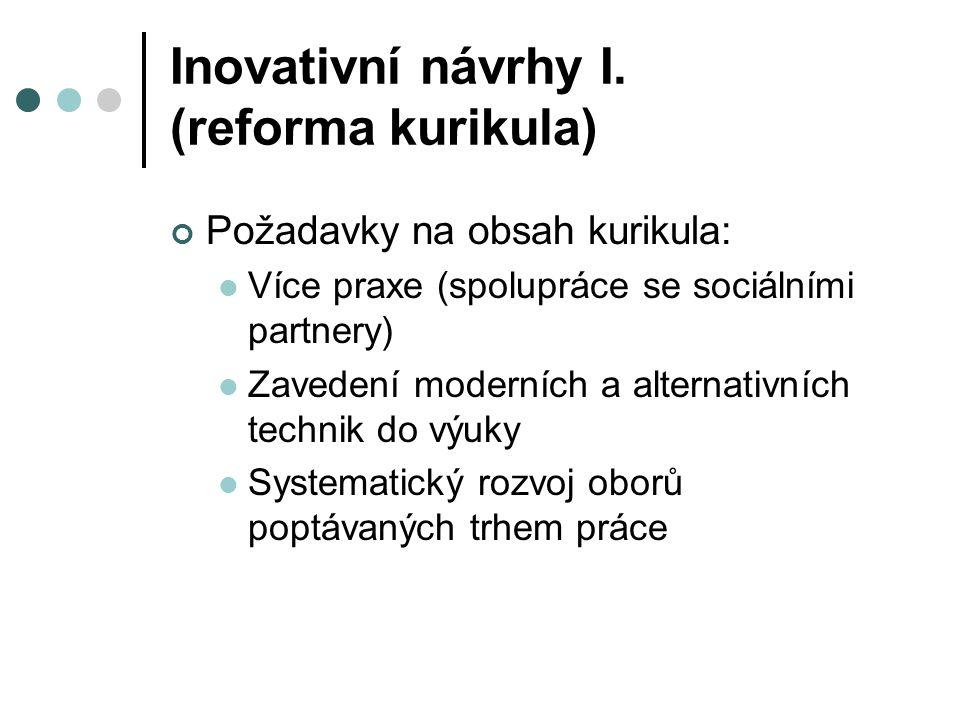 Inovativní návrhy I. (reforma kurikula) Požadavky na obsah kurikula: Více praxe (spolupráce se sociálními partnery) Zavedení moderních a alternativníc