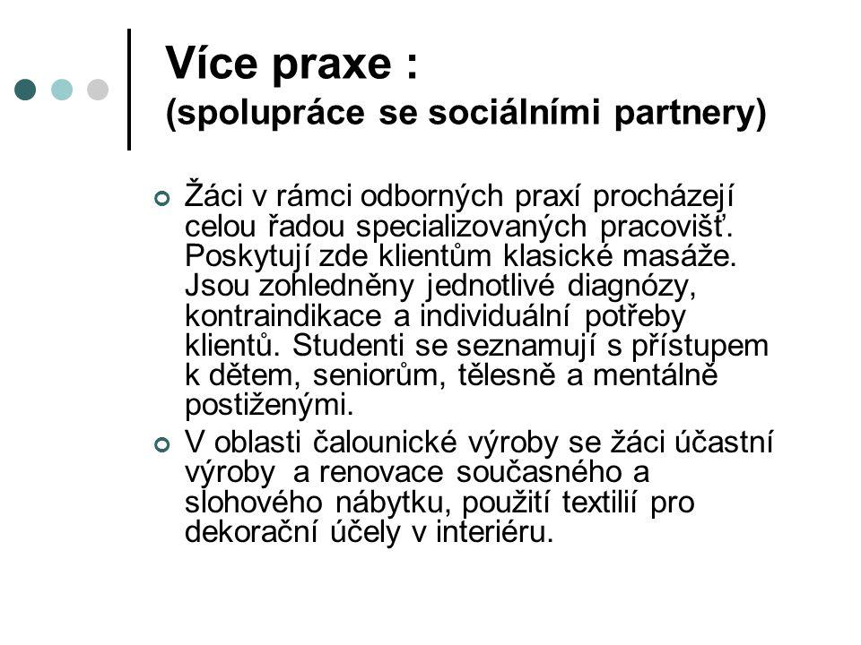 Více praxe : (spolupráce se sociálními partnery) Žáci v rámci odborných praxí procházejí celou řadou specializovaných pracovišť. Poskytují zde klientů