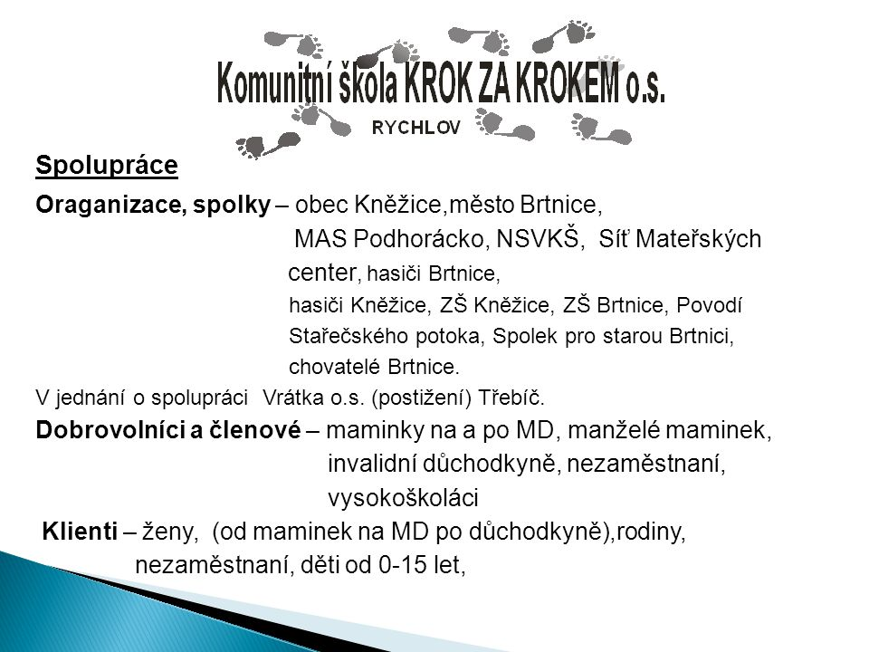Spolupráce Oraganizace, spolky – obec Kněžice,město Brtnice, MAS Podhorácko, NSVKŠ, Síť Mateřských center, hasiči Brtnice, hasiči Kněžice, ZŠ Kněžice,