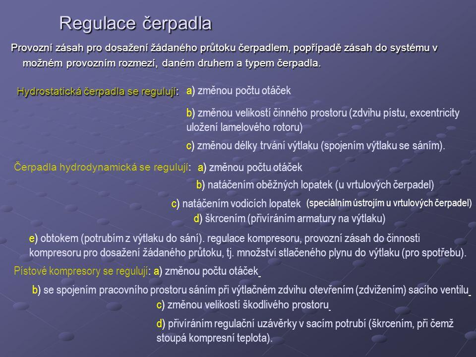 Regulace čerpadla Provozní zásah pro dosažení žádaného průtoku čerpadlem, popřípadě zásah do systému v možném provozním rozmezí, daném druhem a typem