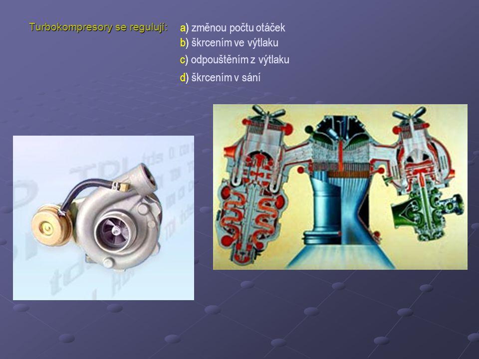 Turbokompresory se regulují: a) změnou počtu otáček b) škrcením ve výtlaku c) odpouštěním z výtlaku d) škrcením v sání
