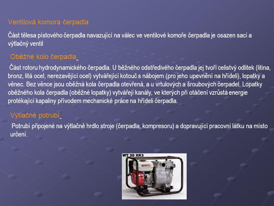 Ventilová komora čerpadla Část tělesa pístového čerpadla navazující na válec ve ventilové komoře čerpadla je osazen sací a výtlačný ventil Oběžné kolo