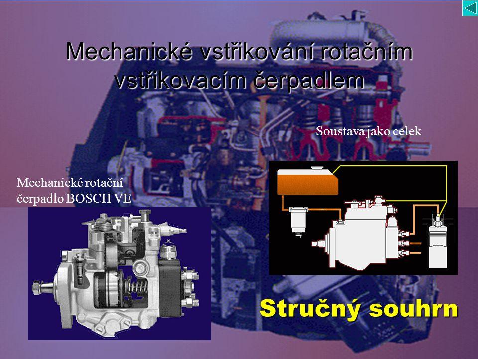 Mechanické vstřikování rotačním vstřikovacím čerpadlem Soustava jako celek Mechanické rotační čerpadlo BOSCH VE Stručný souhrn Stručný souhrn