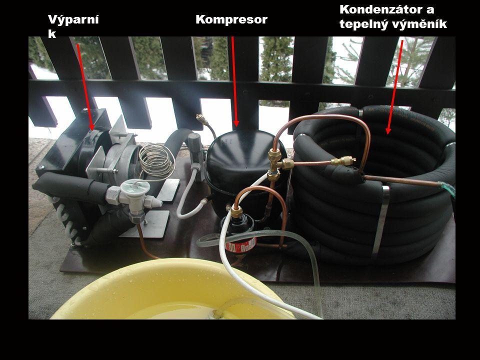 V Výparní k Kompresor Kondenzátor a tepelný výměník