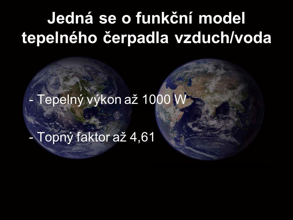 Jedná se o funkční model tepelného čerpadla vzduch/voda - Tepelný výkon až 1000 W - Topný faktor až 4,61