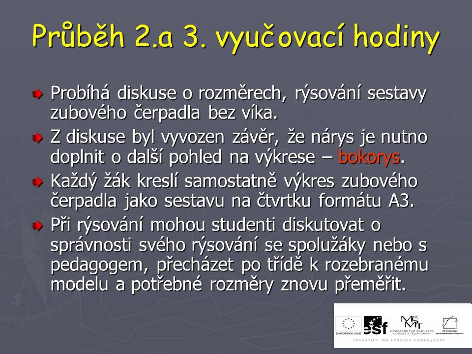 Průběh 2.a 3. vyučovací hodiny Probíhá diskuse o rozměrech, rýsování sestavy zubového čerpadla bez víka. Z diskuse byl vyvozen závěr, že nárys je nutn