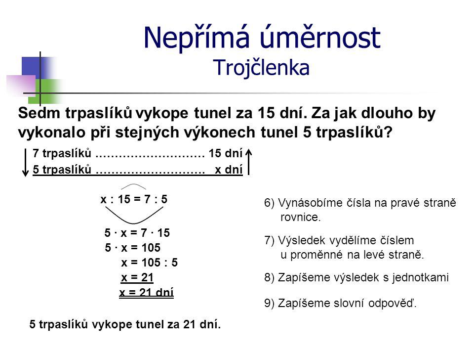 Nepřímá úměrnost Trojčlenka 6) Vynásobíme čísla na pravé straně rovnice. 7) Výsledek vydělíme číslem u proměnné na levé straně. 8) Zapíšeme výsledek s