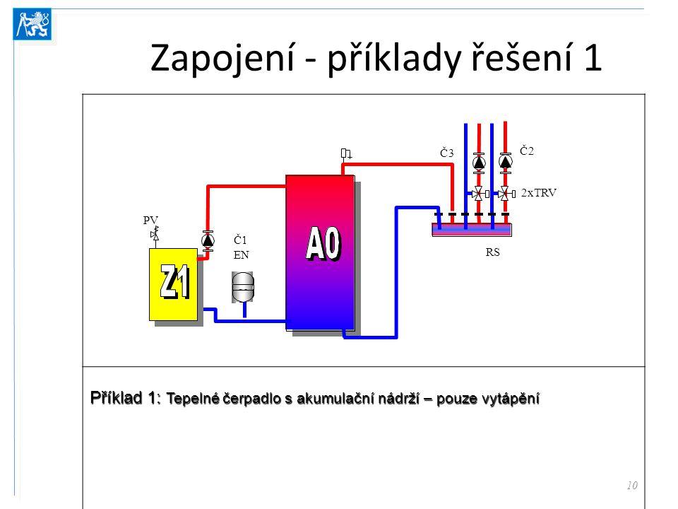Zapojení - příklady řešení 1 10 Příklad 1: Tepelné čerpadlo s akumulační nádrží – pouze vytápění 2xTRV RS Č3