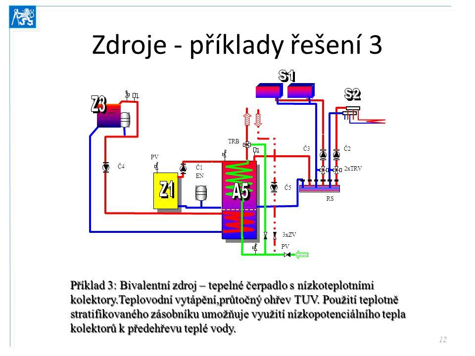 Zdroje - příklady řešení 3 12 Příklad 3: Bivalentní zdroj – tepelné čerpadlo s nízkoteplotními kolektory.Teplovodní vytápění,průtočný ohřev TUV. Použi