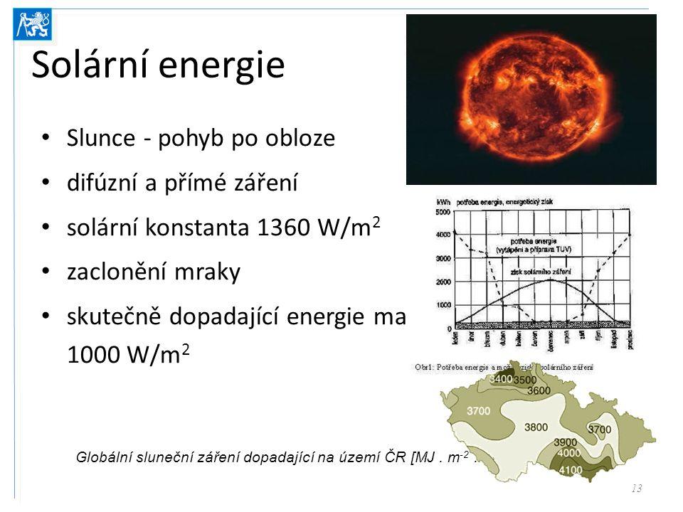 Solární energie Slunce - pohyb po obloze difúzní a přímé záření solární konstanta 1360 W/m 2 zaclonění mraky skutečně dopadající energie max 1000 W/m