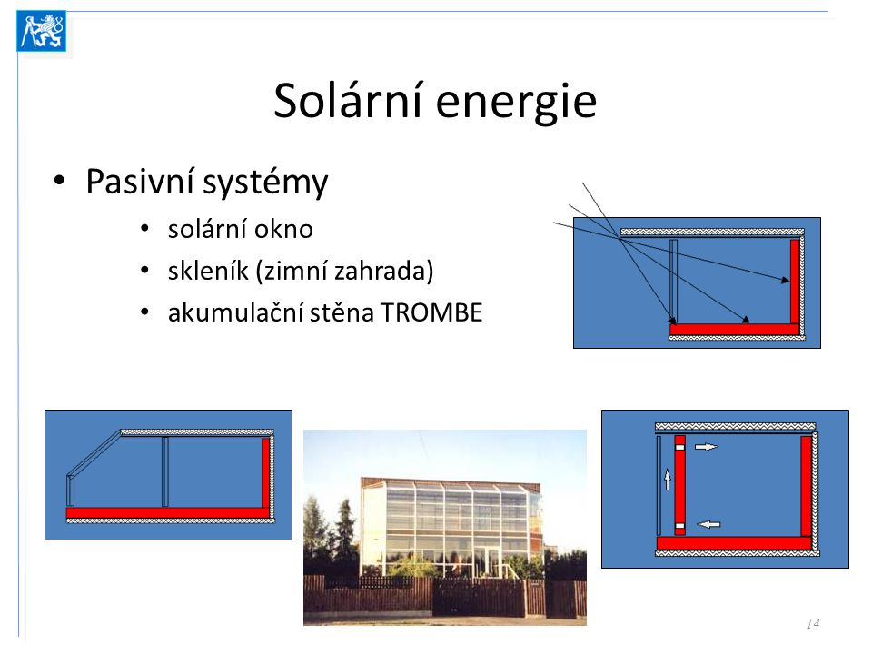 Využití solární energie Aktivní solární systémy – vodní, vzdušné kolektory – fotovoltaické články 15