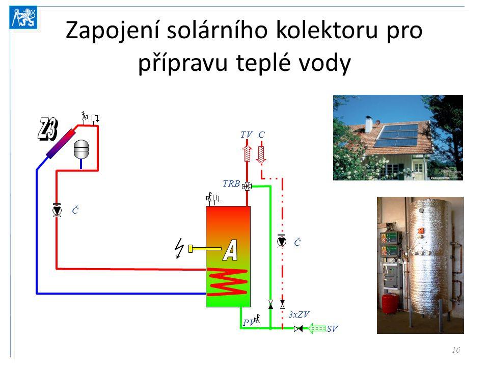 Zapojení solárního kolektoru pro přípravu teplé vody 16 Č TRB Č PV 3xZV SV TVC
