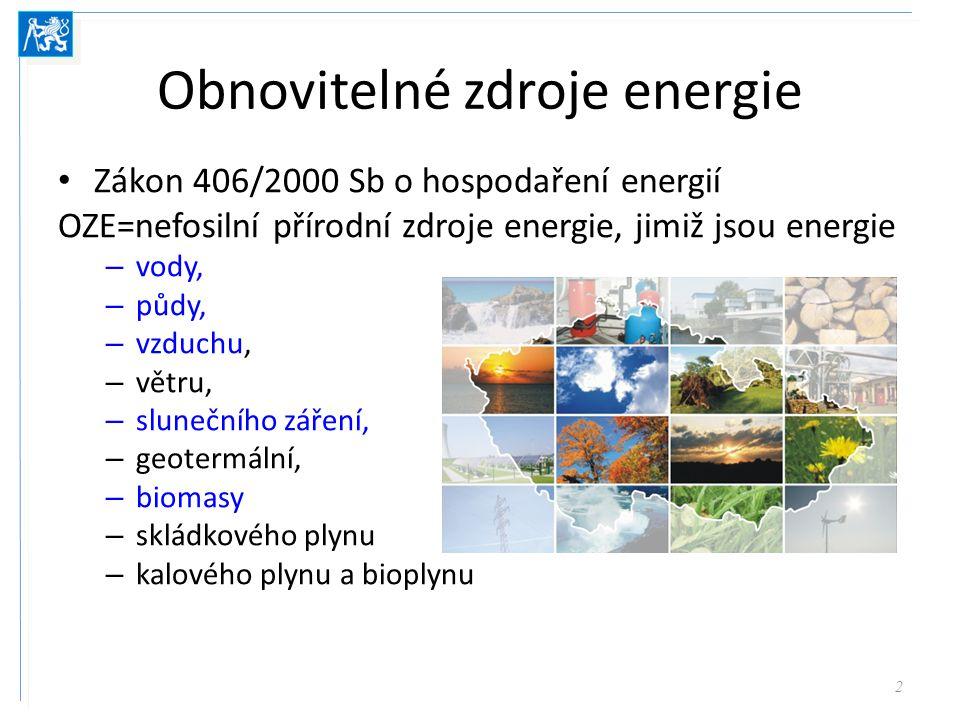 Obnovitelné zdroje energie Zákon 406/2000 Sb o hospodaření energií OZE=nefosilní přírodní zdroje energie, jimiž jsou energie – vody, – půdy, – vzduchu