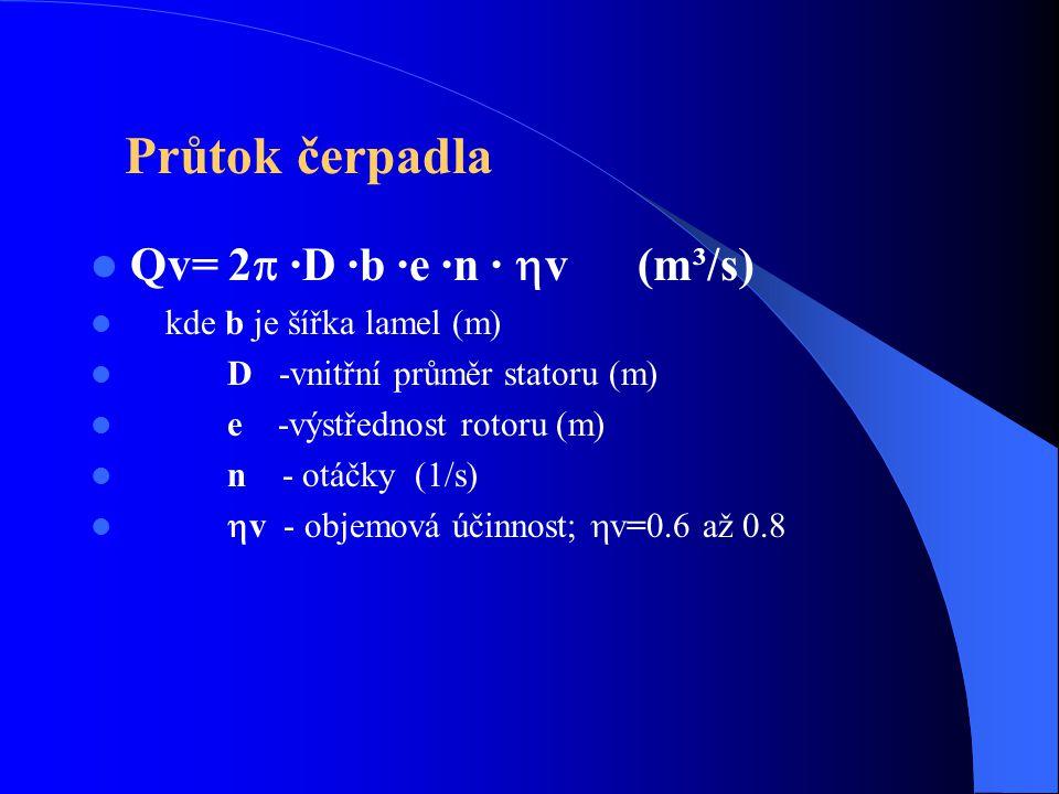 Průtok čerpadla Qv= 2  ·D ·b ·e ·n ·  v (m³/s) kde b je šířka lamel (m) D -vnitřní průměr statoru (m) e -výstřednost rotoru (m) n - otáčky (1/s)  v