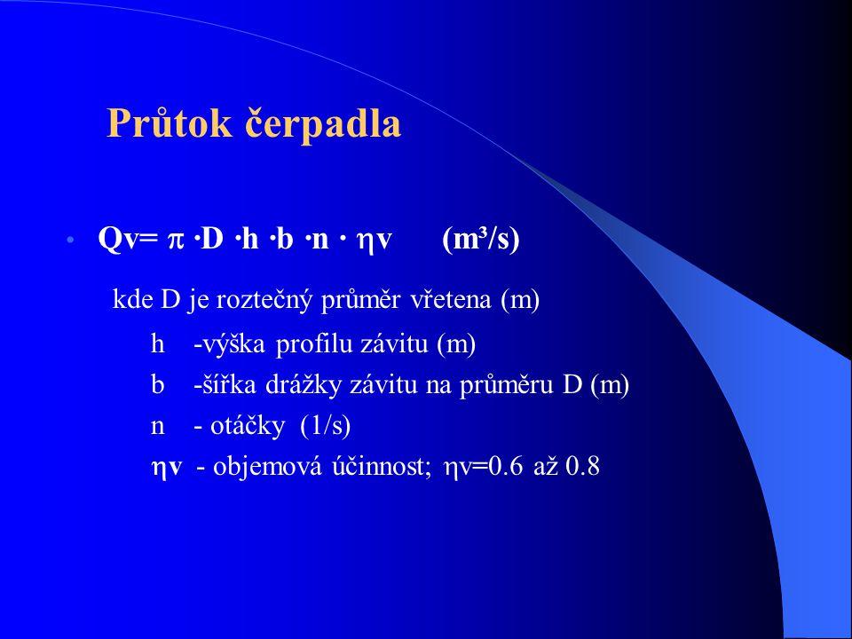 Qv=  ·D ·h ·b ·n ·  v (m³/s) kde D je roztečný průměr vřetena (m) h -výška profilu závitu (m) b -šířka drážky závitu na průměru D (m) n - otáčky (1/