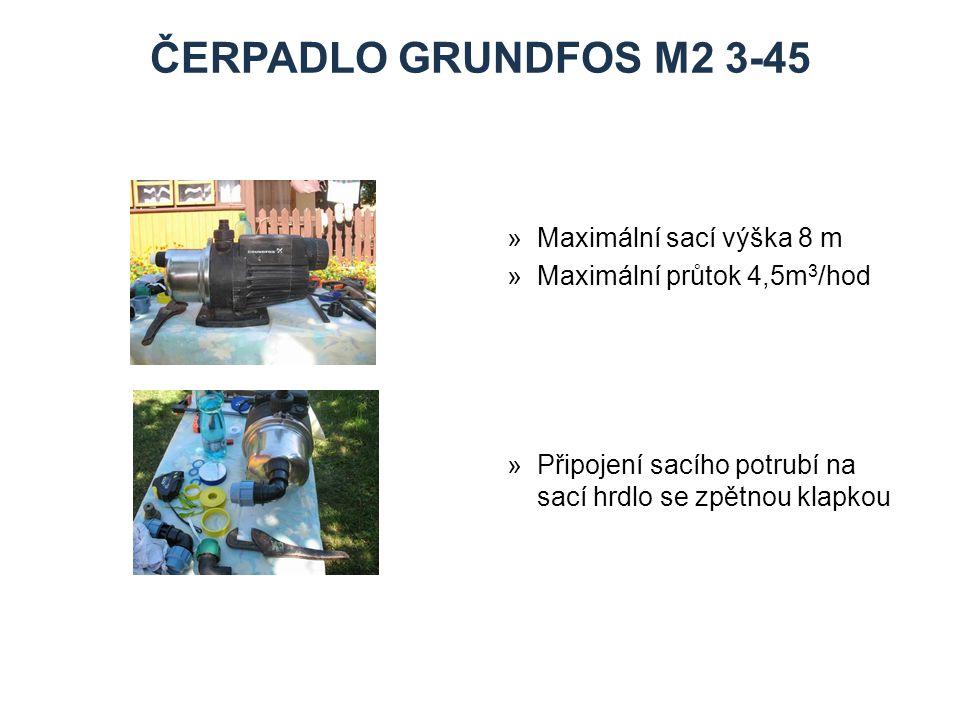 ČERPADLO GRUNDFOS M2 3-45 »Maximální sací výška 8 m »Maximální průtok 4,5m 3 /hod »Připojení sacího potrubí na sací hrdlo se zpětnou klapkou