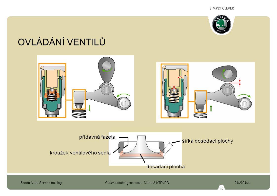 Škoda Auto/ Service training Octavia druhé generace - Motor 2,0 TDI/PD 04/2004/Ju 10 šířka dosedací plochy přídavná fazeta kroužek ventilového sedla d