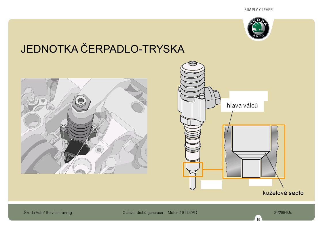 Škoda Auto/ Service training Octavia druhé generace - Motor 2,0 TDI/PD 04/2004/Ju 19 kuželové sedlo hlava válců JEDNOTKA ČERPADLO-TRYSKA