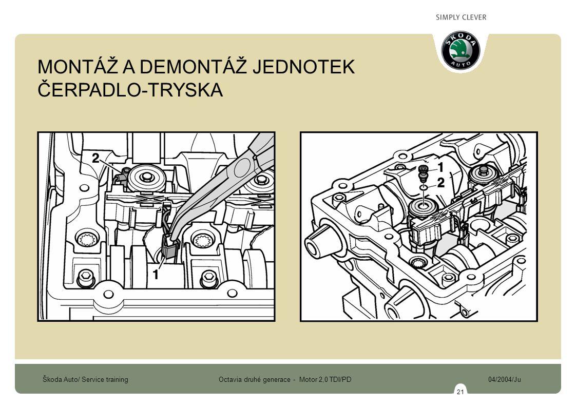 Škoda Auto/ Service training Octavia druhé generace - Motor 2,0 TDI/PD 04/2004/Ju 21 MONTÁŽ A DEMONTÁŽ JEDNOTEK ČERPADLO-TRYSKA