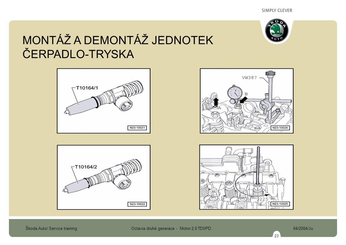 Škoda Auto/ Service training Octavia druhé generace - Motor 2,0 TDI/PD 04/2004/Ju 23 MONTÁŽ A DEMONTÁŽ JEDNOTEK ČERPADLO-TRYSKA