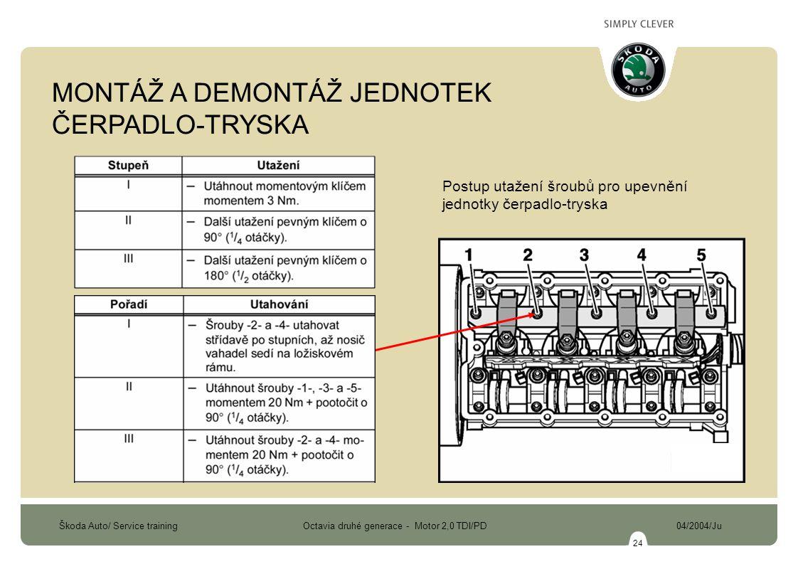 Škoda Auto/ Service training Octavia druhé generace - Motor 2,0 TDI/PD 04/2004/Ju 24 Postup utažení šroubů pro upevnění jednotky čerpadlo-tryska MONTÁ