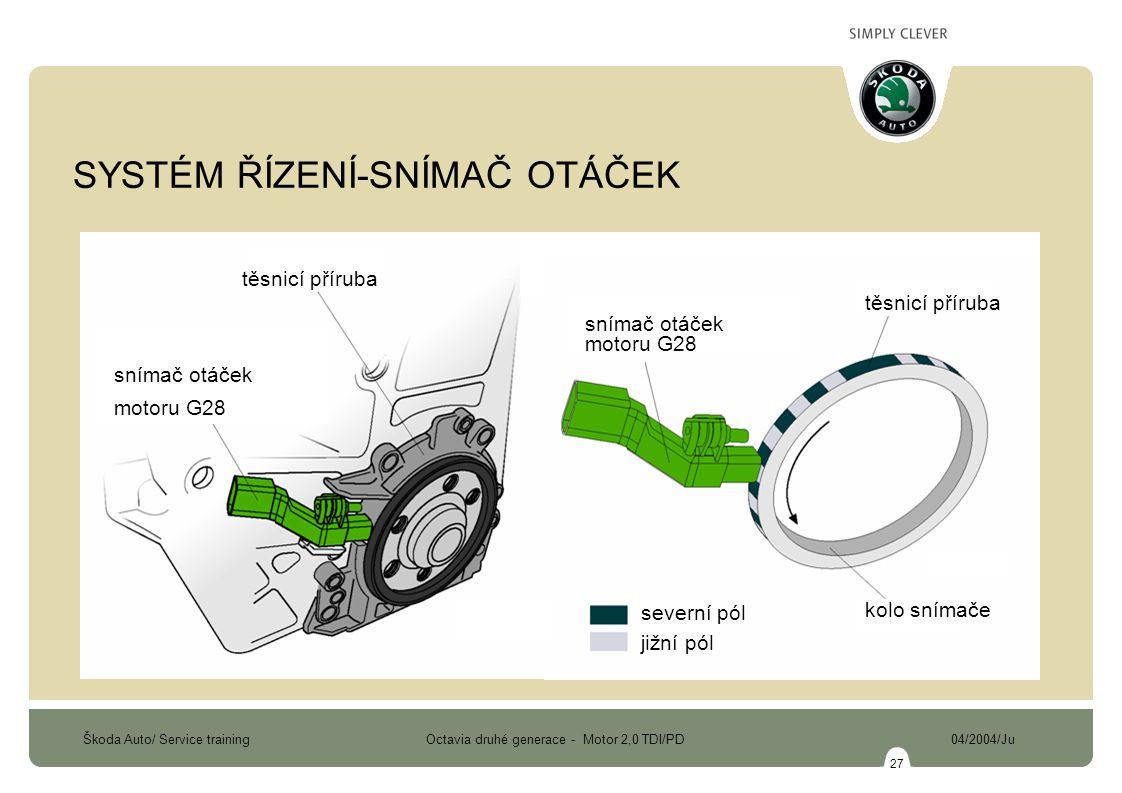 Škoda Auto/ Service training Octavia druhé generace - Motor 2,0 TDI/PD 04/2004/Ju 27 snímač otáček motoru G28 těsnicí příruba snímač otáček motoru G28