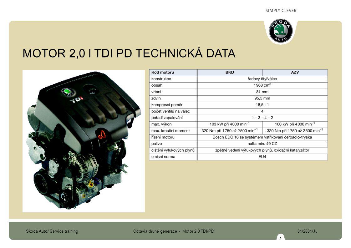 Škoda Auto/ Service training Octavia druhé generace - Motor 2,0 TDI/PD 04/2004/Ju 3 MOTOR 2,0 l TDI PD TECHNICKÁ DATA