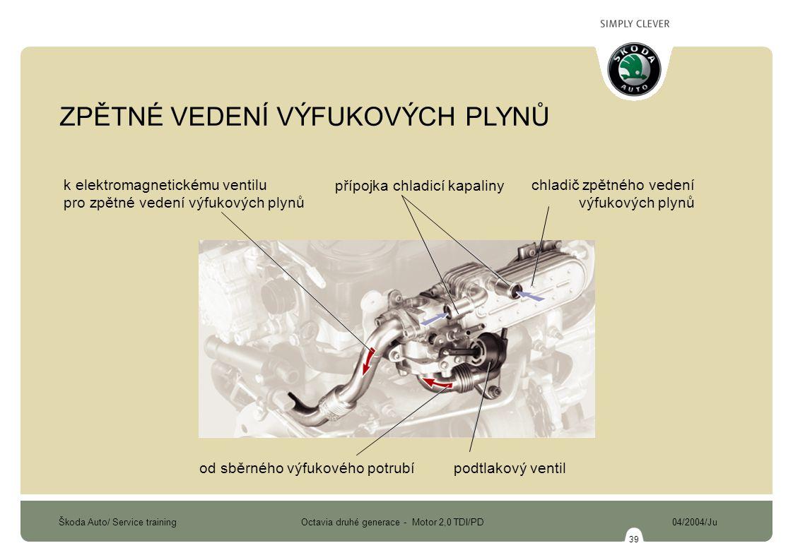 Škoda Auto/ Service training Octavia druhé generace - Motor 2,0 TDI/PD 04/2004/Ju 39 k elektromagnetickému ventilu pro zpětné vedení výfukových plynů přípojka chladicí kapaliny chladič zpětného vedení výfukových plynů od sběrného výfukového potrubípodtlakový ventil ZPĚTNÉ VEDENÍ VÝFUKOVÝCH PLYNŮ