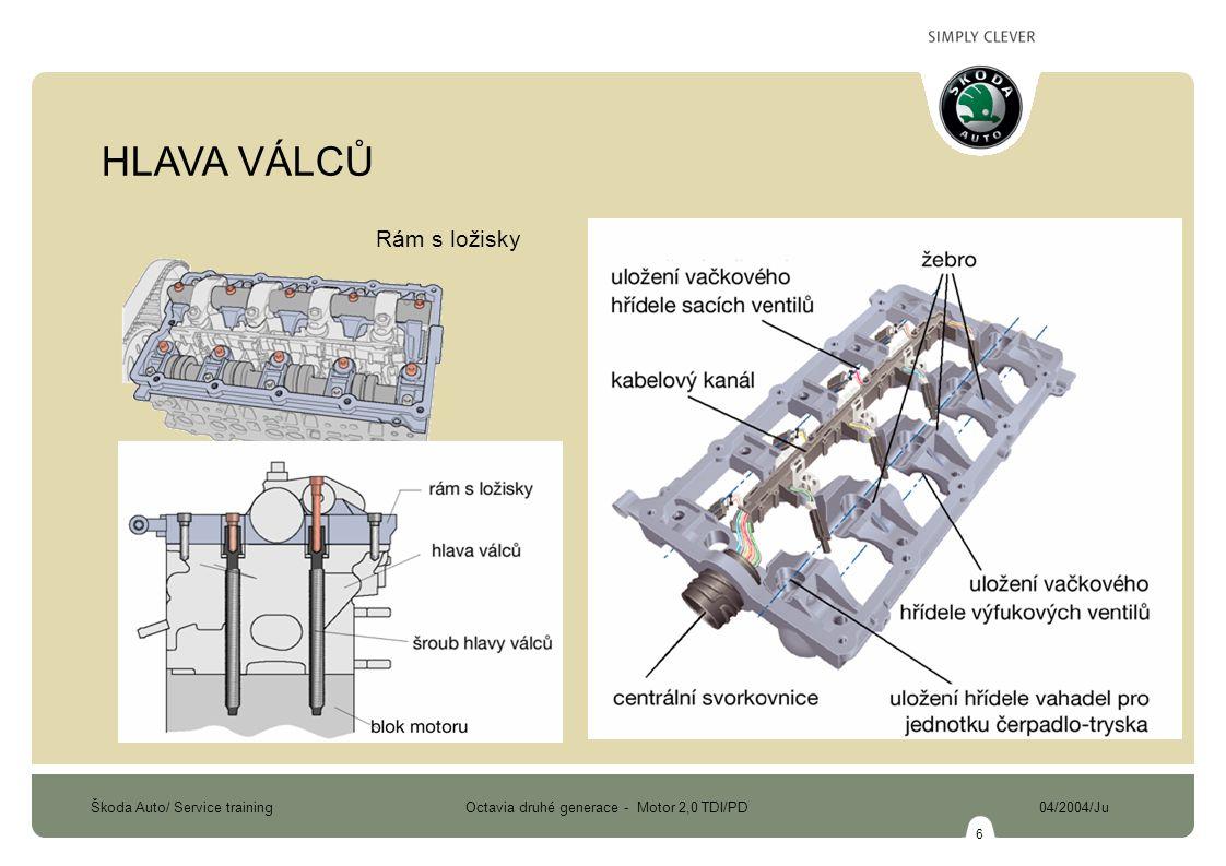 Škoda Auto/ Service training Octavia druhé generace - Motor 2,0 TDI/PD 04/2004/Ju 7 výfukový kanál sací kanál ČTYŘVENTILOVÁ TECHNIKA