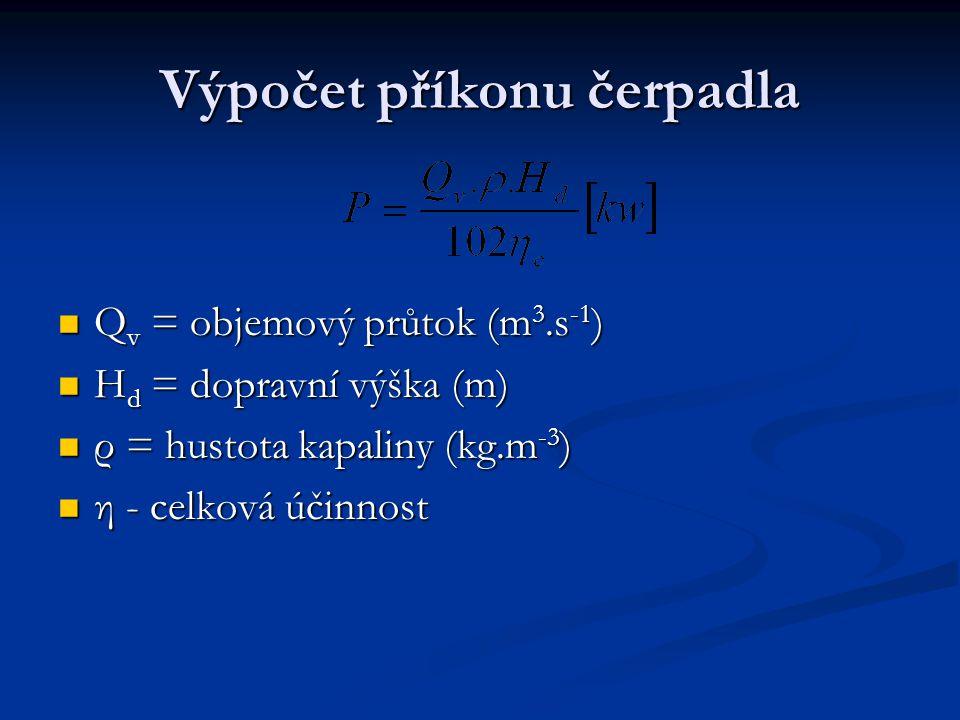 Výpočet příkonu čerpadla Q v = objemový průtok (m 3.s -1 ) Q v = objemový průtok (m 3.s -1 ) H d = dopravní výška (m) H d = dopravní výška (m) ρ = hustota kapaliny (kg.m -3 ) ρ = hustota kapaliny (kg.m -3 ) η - celková účinnost η - celková účinnost