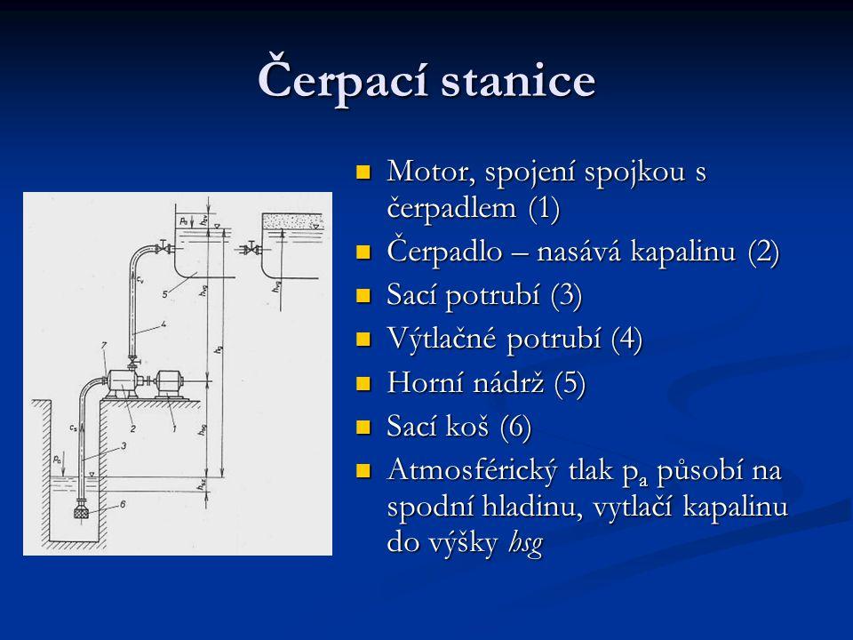 Čerpací stanice Motor, spojení spojkou s čerpadlem (1) Čerpadlo – nasává kapalinu (2) Sací potrubí (3) Výtlačné potrubí (4) Horní nádrž (5) Sací koš (6) Atmosférický tlak p a působí na spodní hladinu, vytlačí kapalinu do výšky hsg