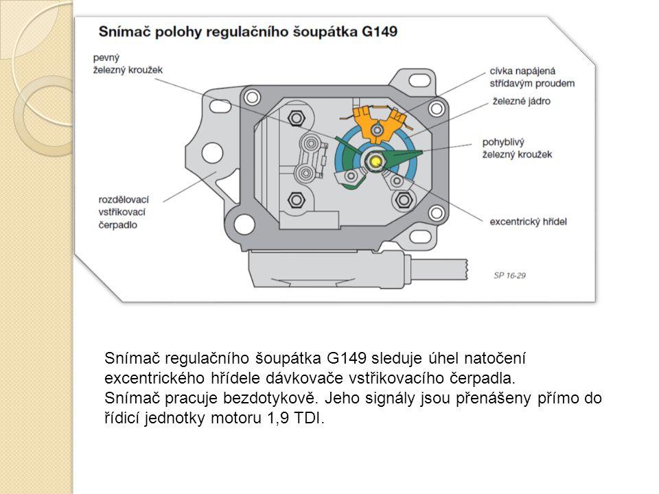 Snímač regulačního šoupátka G149 sleduje úhel natočení excentrického hřídele dávkovače vstřikovacího čerpadla. Snímač pracuje bezdotykově. Jeho signál