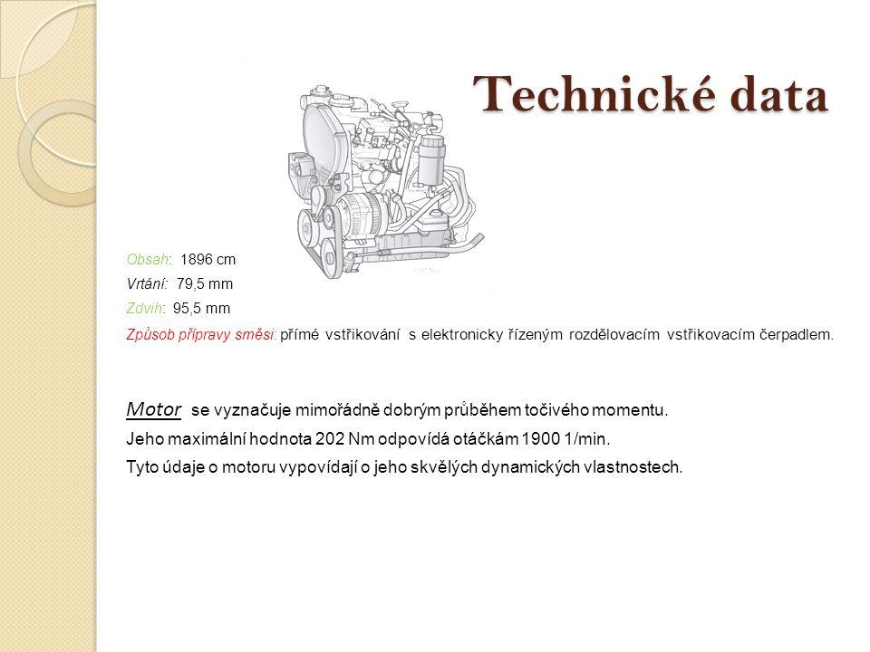 Obsah: 1896 cm3 Vrtání: 79,5 mm Zdvih: 95,5 mm Způsob přípravy směsi: přímé vstřikování s elektronicky řízeným rozdělovacím vstřikovacím čerpadlem. Mo