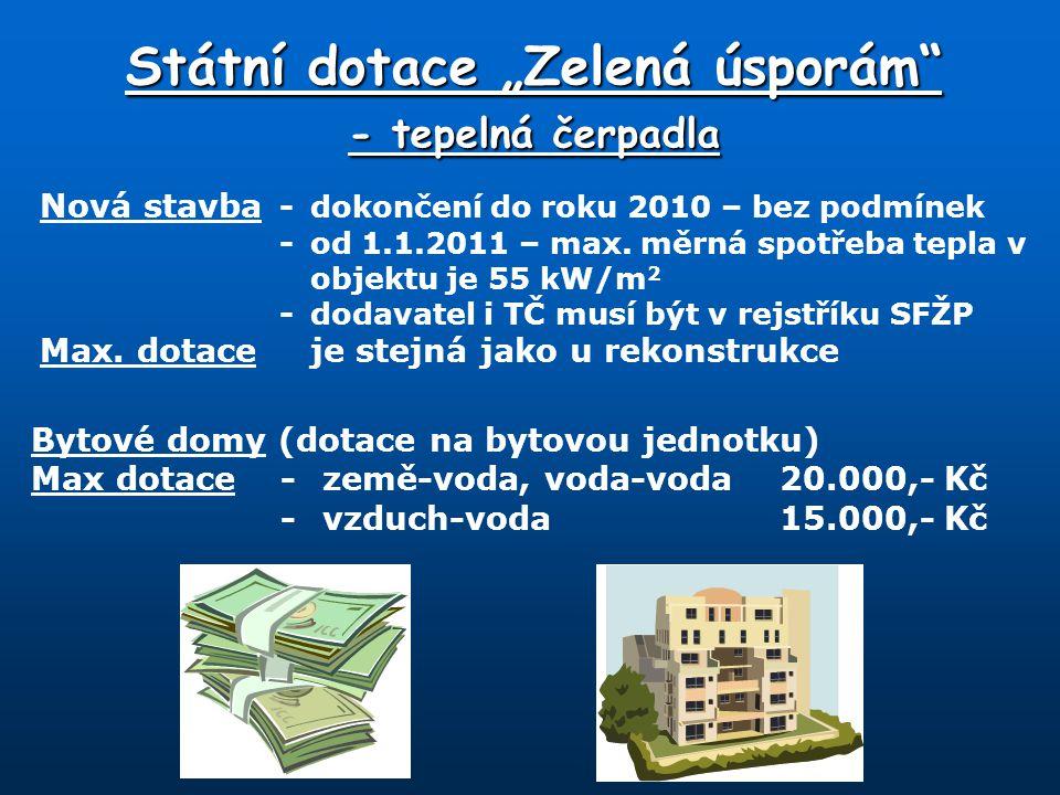 """Státní dotace """"Zelená úsporám"""" - tepelná čerpadla Nová stavba -dokončení do roku 2010 – bez podmínek -od 1.1.2011 – max. měrná spotřeba tepla v objekt"""