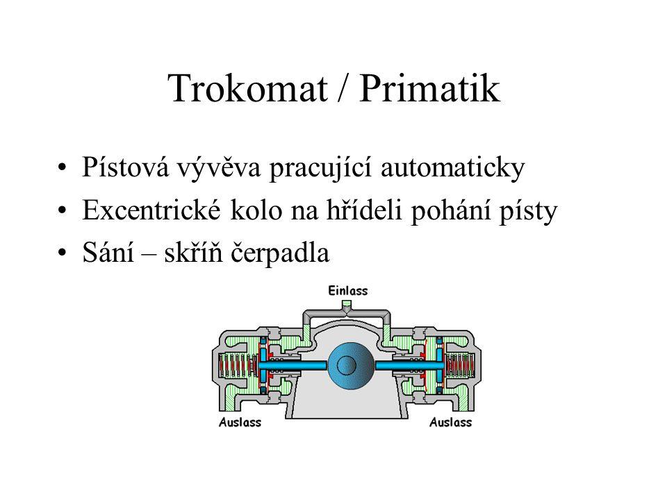 Trokomat / Primatik Pístová vývěva pracující automaticky Excentrické kolo na hřídeli pohání písty Sání – skříň čerpadla