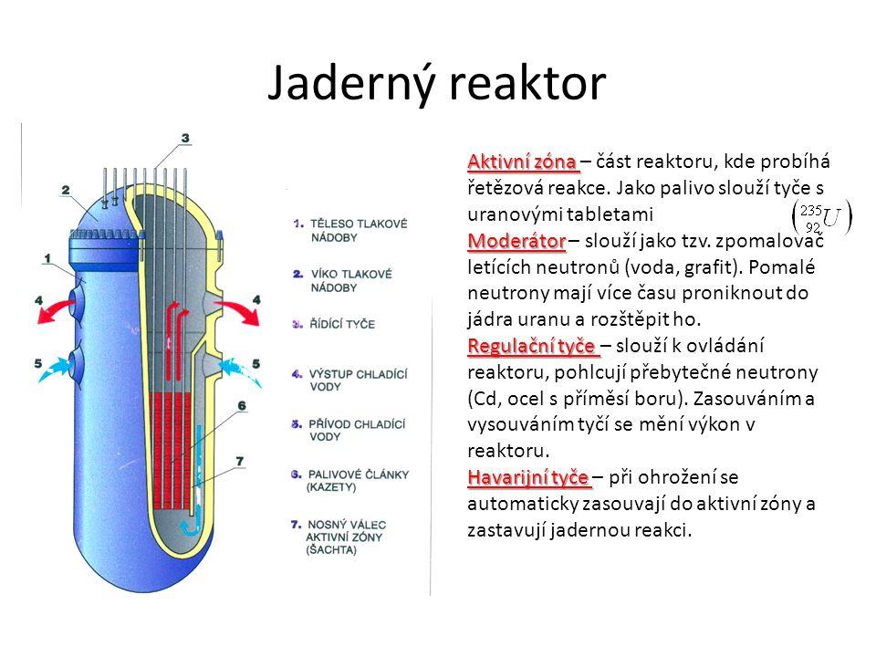 Jaderný reaktor Aktivní zóna Aktivní zóna – část reaktoru, kde probíhá řetězová reakce.