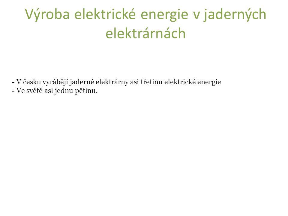 - V česku vyrábějí jaderné elektrárny asi třetinu elektrické energie - Ve světě asi jednu pětinu.