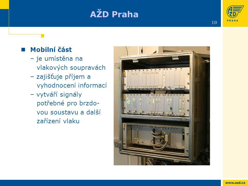 Mobilní část – je umístěna na vlakových soupravách – zajišťuje příjem a vyhodnocení informací – vytváří signály potřebné pro brzdo- vou soustavu a dal