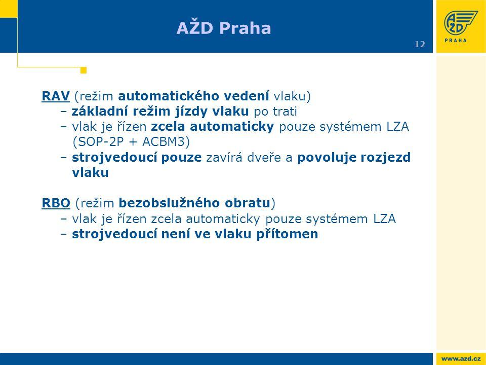 RAV (režim automatického vedení vlaku) – základní režim jízdy vlaku po trati – vlak je řízen zcela automaticky pouze systémem LZA (SOP-2P + ACBM3) – s