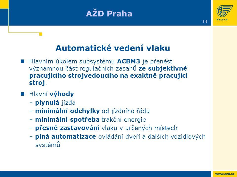 Automatické vedení vlaku Hlavním úkolem subsystému ACBM3 je přenést významnou část regulačních zásahů ze subjektivně pracujícího strojvedoucího na exa