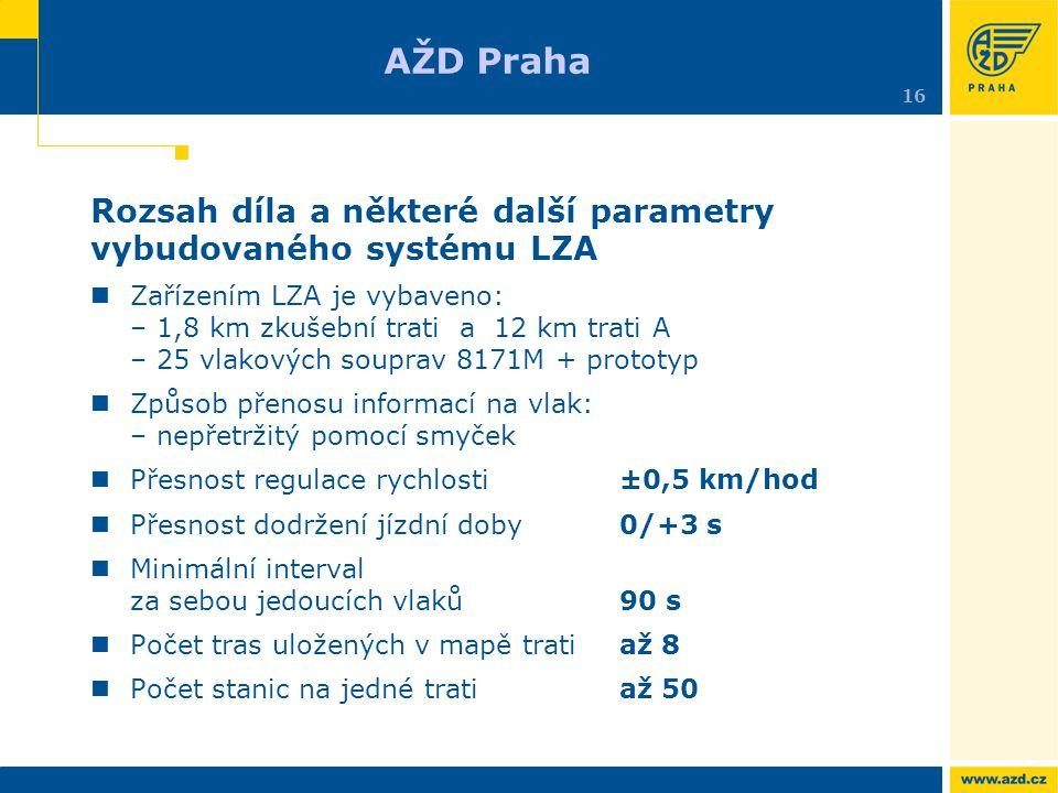Rozsah díla a některé další parametry vybudovaného systému LZA Zařízením LZA je vybaveno: – 1,8 km zkušební trati a 12 km trati A – 25 vlakových soupr